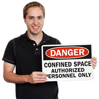 Danger Confined Space Authorized Personnel Signs