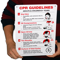 CPR Guidelines Adults Children 8+ Years Signs
