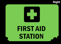 Add Your First Aid Text Glow Sign