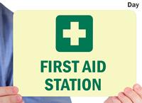 Custom Glow First-Aid Signs