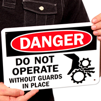 Do Not Operate Without Guards (graphic) Signs