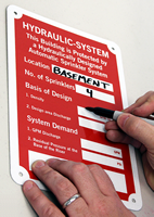 Hydraulic System Fire Sprinkler Identification Signs