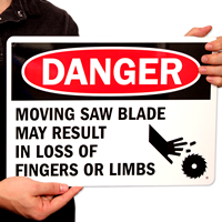 Danger Moving Saw Blade Signs