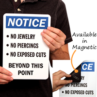 No Jewelry/Piercings Beyond This Point Signs