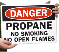 Danger Propane No Smoking Signs