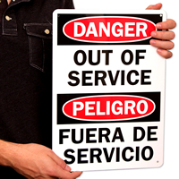Bilingual Danger Out Of Service Signs