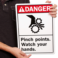 Danger (ANSI) Pinch Points Watch Hands Signs