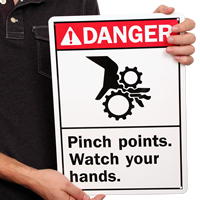 Danger Pinch Points Watch Your Hands Signs