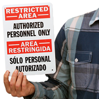 Restricted Authorized Personnel Personal Authorizados Sign