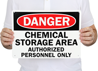 Danger Chemical Storage Authorized Personnel Signs