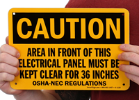Caution Electric Panel Area Be Kept Clear Signs