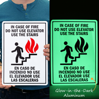 Do Not Use Elevator, Use The Stairs Bilingual Sign