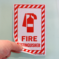 Fire Extinguisher Label Set With Symbol