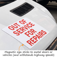 Out of service magnetic sign