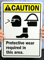 Caution (ANSI) Wear Protective Equipment Signs