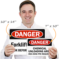 Custom osha danger sign sizes