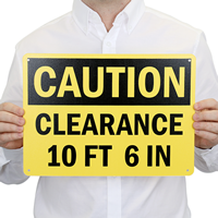 CAUTION CLEARANCE XXFT XXIN Sign