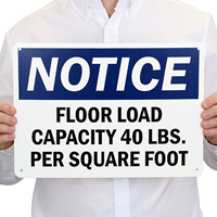 Custom Notice Floor Load Capacity Sign