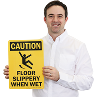 Slippery Floor When Wet Caution sign