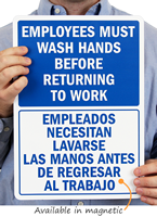 Employees Must Wash Hands Before Returning To Work ,Door Signs