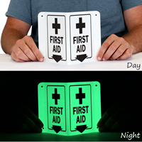 Projecting Directional Frist Aid Sign