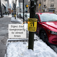 Temporary signs for falling ice and snow