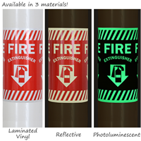 Column Marker Adhesive Fire Extinguisher Sign
