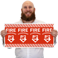 Fire Extinguisher Adhesive Column Marker Sign