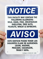 Facility Contains Allergens Bilingual Sign