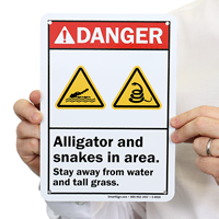 Alligator And Snakes In Area Danger Sign