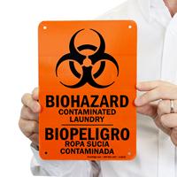 Laundry Biohazard Contaminated Sign