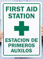 Bilingual First Aid Station, Estacion De Primeros Auxilos Signs