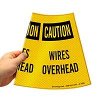 Caution Wires Overhead Sign