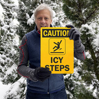 Icy steps caution sign