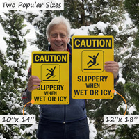 Slippery when icy signs