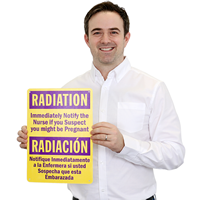Bilingual Radiation Warning Sign