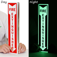 Glow-in-the-Dark Extinguisher with Arrow Sign