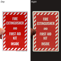 Fire Extinguisher and First Aid Kit Inside Sign