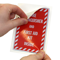 Fire Extinguisher And First Aid kit label