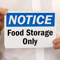 Food Storage Notice Sign