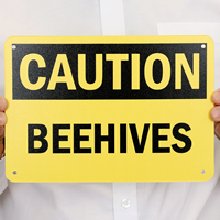 Caution Beehives Sign