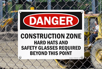 Construction Zone Hard Hats Safety Glasses Required Signs