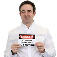 Danger 50 Gallon Diesel Tank No Smoking Sign