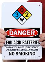 Lead Acid Batteries Corrosive Liquids OSHA Danger Signs
