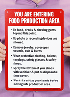 You Are Entering Food Production Area Signs