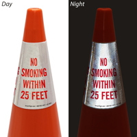 No Smoking Within 25 Feet Cone Message Collar Sign