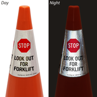 Stop Look Out For Forklift Cone Message Collar Sign