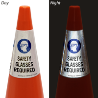Safety Glasses Required Cone Message Collar