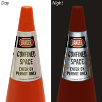 Danger Confined Space Enter By Permit Only Cone Collar