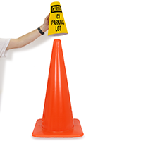 Caution Icy Parking Lot Cone Message Collar